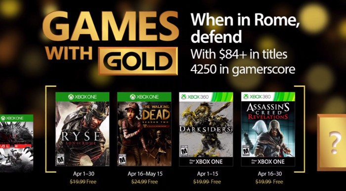 Games With Gold de abril: Ryse, The Walking Dead, Darksiders y Assassin's Creed Revelations