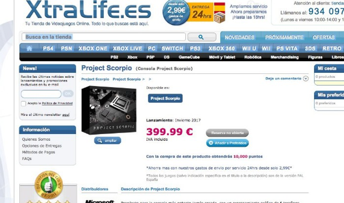 Según XtraLife, Project Scorpio costará 400 euros