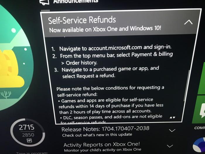 Microsoft podría permitir devolver productos en su tienda para Xbox One y Win 10