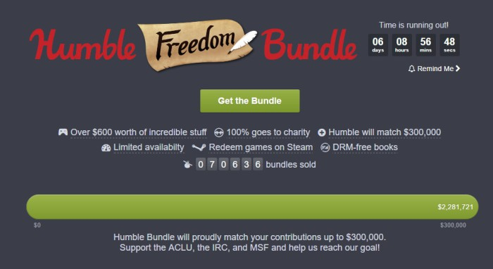 Freedom Bundle, el pack de Humble Bundle más grande hasta la fecha